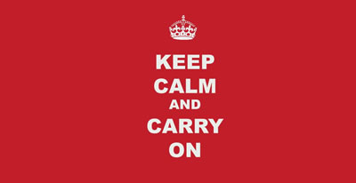 """If involved in training and events a """"Keep Calm and Carry On"""" attitude will stand you in good stead"""