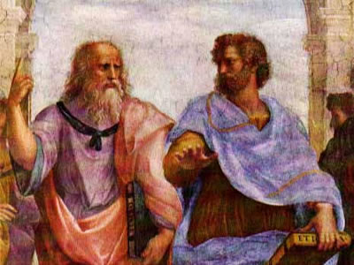 Plato and Aristotle possibly talking about their recent team building event.
