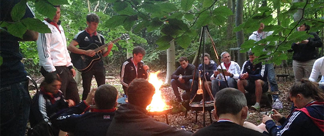 British Canoeing Team Bonding Around the Camp Fire
